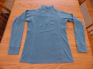 Burton Women's Medium Quarter Zip 1/4 Zip Baselayer Top Teal Dryride Mid Weight