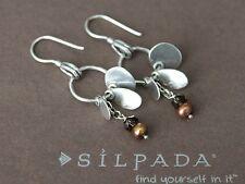 SILPADA Sterling Silver Bronze Pearl Smoky Quartz Disk Dangle Earrings W1550