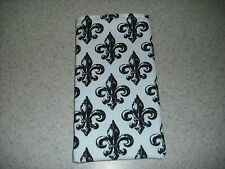Sunglass / Eyeglass Soft Fabric Case - Black & White Fleur de Lis Pattern