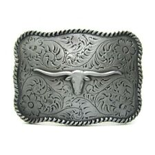 Antique Longhorn Steer Belt Buckle Native American Western Cowboy Rodeo Men Gift