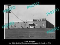 OLD LARGE HISTORIC PHOTO OF OZARK ALABAMA, THE WHITE KNIGHT FACTORY c1950