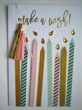 "C.R.GIBSON ~ GLITTERY ""MAKE A WISH!"" CANDLES BIRTHDAY GREETING CARD + ENVELOPE"
