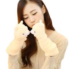 Women Winter Soft Warm Gloves Alpaca Ear Fleece Casual Fingerless Wrist Mittens