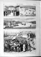 Old Antique Print 1877 War Constantinople Softa Ships Dolm-Bagtche Army 19th