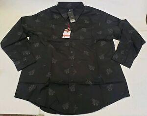 Mens Haggar Button Up Dress Golf Cart Santa Christmas Shirt Xmas Medium Black