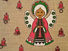 VINTAGE CHRISTMAS ANGEL CANDLE BEIGE RED JUTE WALL ADVENT CALENDAR ORGANIZER