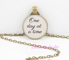 One day at a time Cabochon Glass Necklace charm vintage Bronze pendants