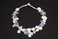 Feminine Sea Summer Style String Necklace w White & Blue Square Pearls (S494)