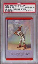 1953 Brown & Bigelow Ad Back Babe Ruth New York Yankees PSA Gem Mint 10