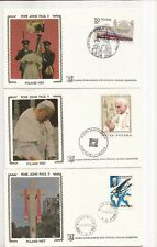 Poland- Pope visits (1979)- all different 6 Fdcs (Colorano Silks)