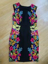M&CO ladies black multi floral fitted summer shift dress UK 12 EXCELLENT COND