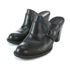 Born Black Leather Block High Heel Clogs Mules Slip On Shoes Womens 10 EUR 42