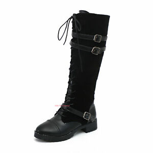 Womens Ladies Knee High Boot Mid Calf Buckle Low Heel Boot Lace Up Shoes Size