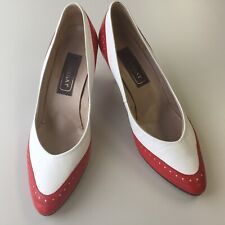Vtg Leather Hot Heels Shoes Retro Made in Hungary Womens Pumps Red White 8.5
