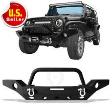 Full Width Front Bumper W/Fog Light Hole &Winch Plate For 07-18 Jeep Wrangler JK