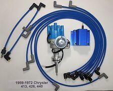 CHRYSLER 440 1959-72 BLUE Small Female Cap HEI Distributor+Coil+Spark Plug Wires