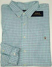 NEW $110 Polo Ralph Lauren Oxford Long Sleeve Shirt Mens Aqua Green Plaid NWT