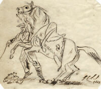 Charles Loraine-Smith, Rearing Horse & Rider – Original 1833 pen & ink drawing