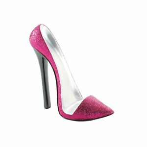 Stylish Sparkle Pink Polyresin Chic High Heel Shoe Phone Holder Indoor Decor