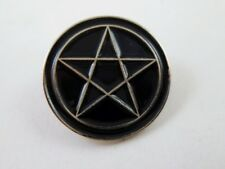 Black Enamel Witch Pentacle Pentagram Pin Brooch Wiccan Pagan Satanic Halloween