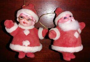 """Vintage Mid Century Christmas Flocked Santa & Mrs Claus Plastic 4"""" Ornaments"""