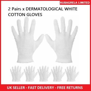 2 Pairs x DERMATOLOGICAL WHITE COTTON GLOVES - Help protect damaged skin spa