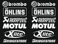 Brembo Öhlins Akrapovic Motorsport Sponsoren Aufkleber Racing Set Motorrad Auto