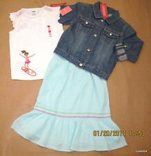 Gymboree Floral Reef Denim Ric Rac Jacket Surf Girl Shirt Top Long Skirt 6 NWT