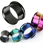 PAIR PVD Plated Double Flare Tunnels Plugs Earlets Gauges Body Jewelry