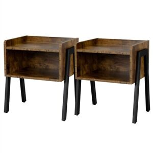 Set of 2 Bedside Tables Nightstands Stackable Narrow End Table with Open Storage