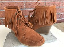 MINNETONKA Lace Up Fringe Ankle Wedge Boot Booties Brown Suede SZ 9