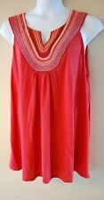 WOMEN'S PLUS SIZE 3X 22W 24W EMBROIDERED TUNIC TANK - CLOTHING NEW