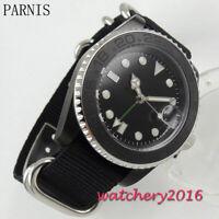 40mm PARNIS Schwarz dial Nylon Leuchtzeiger gmt Automatisch Uhr men's Wristwatch
