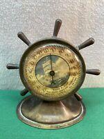 Vtg 30-40's Brass Nautical Ships Wheel Advertising Thermometer Camden N J