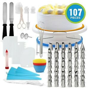 107 Pieces Kichen Baking Accessories Cupcake Cakes Decorating Bakery Tools Sets