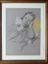 HUBERT ARTHUR FINNEY 1905-1991 ORIGINAL SIGNED PASTEL 'RECLINING WOMAN' 1935