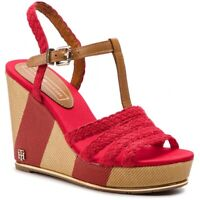 TOMMY HILFIGER WEDGE SANDAL scarpe sandali donna espadrillas pelle tessuto zeppa