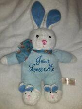 """Jesus Loves Me Blue Plush Bunny Rabbit 10"""" Slippers Sings Dan Dee Soft Stuffed"""