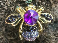 """Pin Brooch Vintage Fashion Jewelry Vtg 1.25"""" Bee Insect Bug Crystal Rhinestone"""