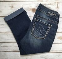 Womens Silver Jeans Mid Rise Suki Dark Denim Cropped Capri Stretch Jean 25