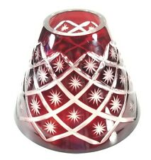 Vintage Czech Bohemian Ruby Cut To Clear Glass Lamp Shade 6.2 x4.2 x2.5 Inch EXC