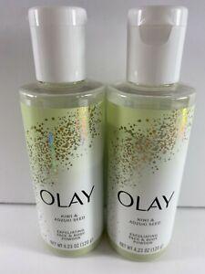 Lot of 2 Olay Kiwi & Adzuki Seed Gently Exfoliating Face & Body Power 4.23 oz ea