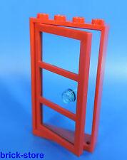 LEGO Porta / 1 X 4 6 Telaio rosso / con Inserto trasparente Vetro blu