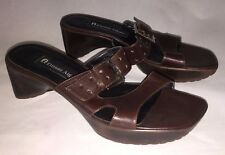 Etienne Aigner Tonka Brown Soft Leather Wedge Heels Buckle Shoes Women's 6M