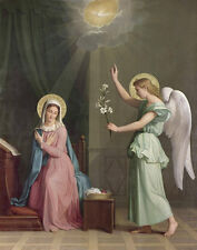 Art oil painting portraits The Annunciation Madonna with angel holding flowers