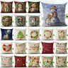 Christmas Xmas 18inch Linen Pillow Case Sofa Throw Cushion Cover Home Decoration