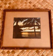 EDITHE BEUTLER HAND TINTED FRAMED PHOTO HAWAIIAN SUNSET RARE HAWAIIANA SIGNED