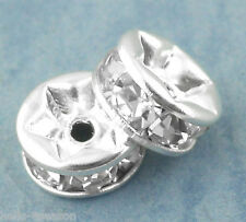 90PCs Silver Plated Rondelles Rhinestone Spacers Beads 6mm Dia.