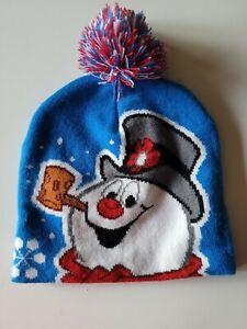 Frosty The Snowman, Knit Winter Beanie Hat w/ pompom Blue Warner Bros Childs