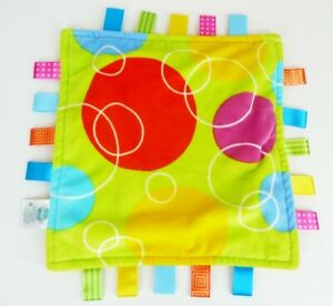 """Taggies Green Yellow Security Blanket Circles Bubbles Lovey Satin Tags 12"""" X 12"""""""